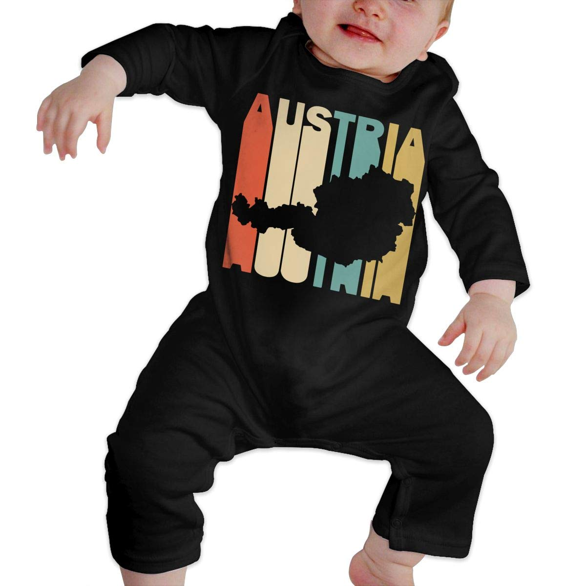 Soft Retro Style Austria Silhouette Onesies Long Sleeve Cotton Rompers for Baby Girls Boys