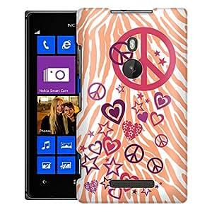 Nokia Lumia 925 Case, Slim Fit Snap On Cover by Trek Peace Love Stars on Peach Zebra Print Case
