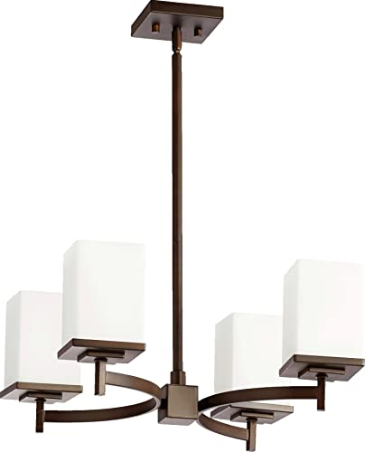 Quorum 6084-4-86 Delta – Four Light Chandelier, Oiled Bronze Finish with Satin Opal Glass