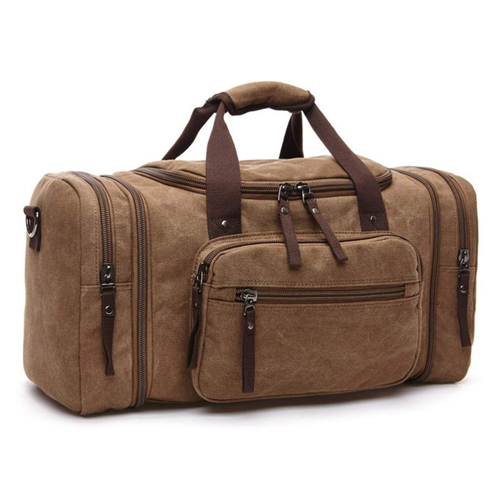 Canvas Men Travel Bags Carry On Luggage Bags Travel Tote Large Weekend Bag Overnight High Capacity Coffee Brown by UINTAGEE
