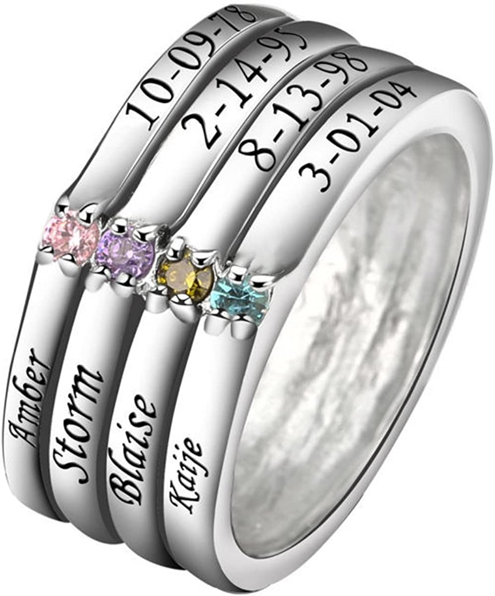 Personalized 5mm Sterling Silver Two Tone Spinner Ring with CZ