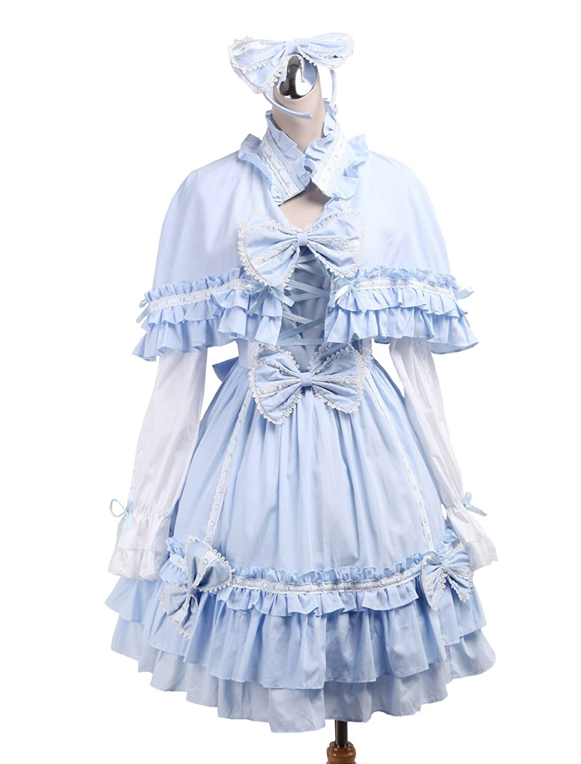 Victorian Kids Costumes & Shoes- Girls, Boys, Baby, Toddler antaina Blue Cotton Bows Ruffle Sweet Victorian Lolita Dress With Cape Headware $68.99 AT vintagedancer.com