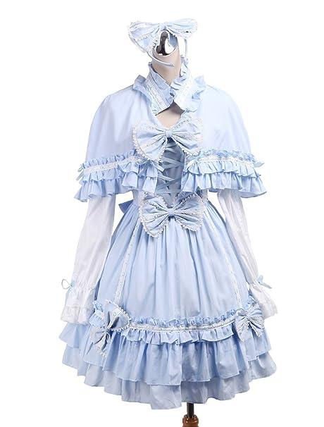 Antaina Vestido en Lolita Victoriana de algodón Azul con Volantes, Chal y Sombreros,XS