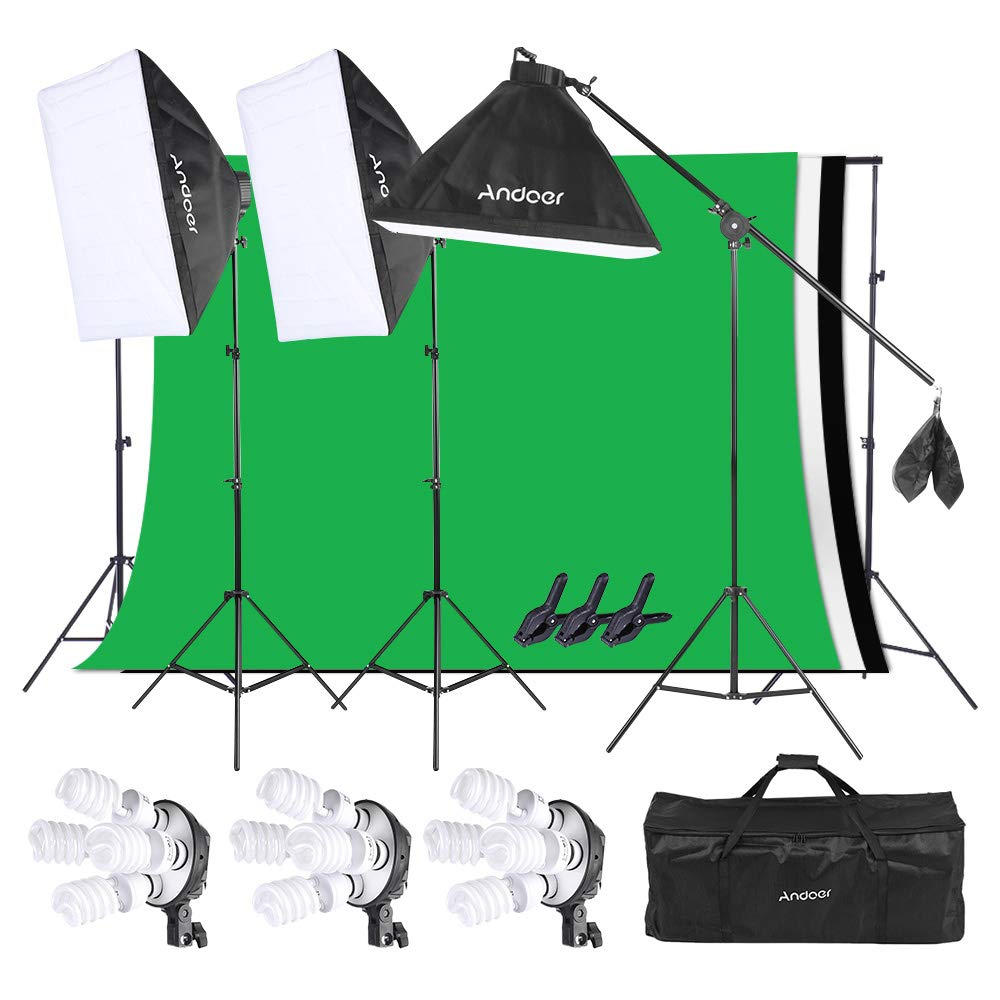 Andoer Lighting Kit, Photography Studio Softbox Light Kit and 6.6ftx10ft Background Support System, Including 3pcs Backdrops(Black/White/Green) Screen for Photo, Video, Portrait and Product Shooting by Andoer