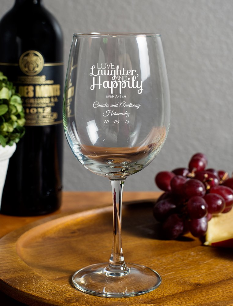 Love Laughter Happily Ever After 12 Ounce Wine Goblet, 72 Count Custom Name and Date White Print, Engagement Party Anniversary Favor
