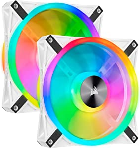 Corsair QL Series, iCUE QL140 RGB, 140mm RGB LED PWM White Fan, Dual Fan Kit with Lighting Node Core