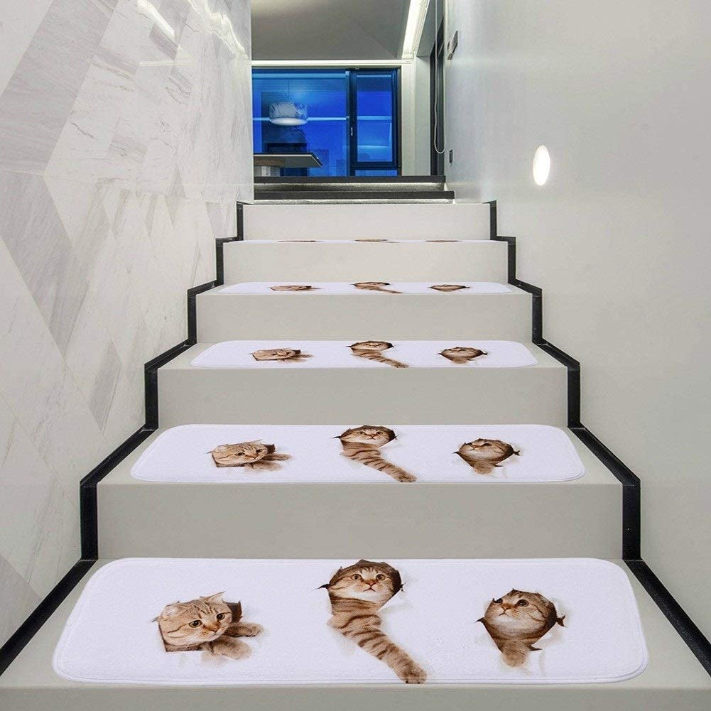 Chihen 5/10/15 Piezas Alfombra Antideslizante para Escaleras Felpudo Antideslizante Step Mat Patrón De Gato Step Mats (Color : Multicolor (70x22cm), Size : 5pcs): Amazon.es: Hogar