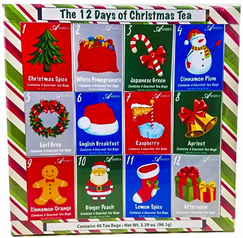 - Christmas Sampler Gift 12 Days of Coffees, Teas or Cocoas (Hot Chocolate) for Christmas Gourmet Gift Box Set - Best Xmas Present For Friends, Family, Corporate, Coworkers, or Teachers (Tea)