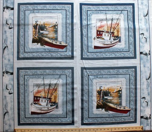 Fishing Boat Framing Quilting Pillow Panel Cotton Fabric Square as Shown D767.03