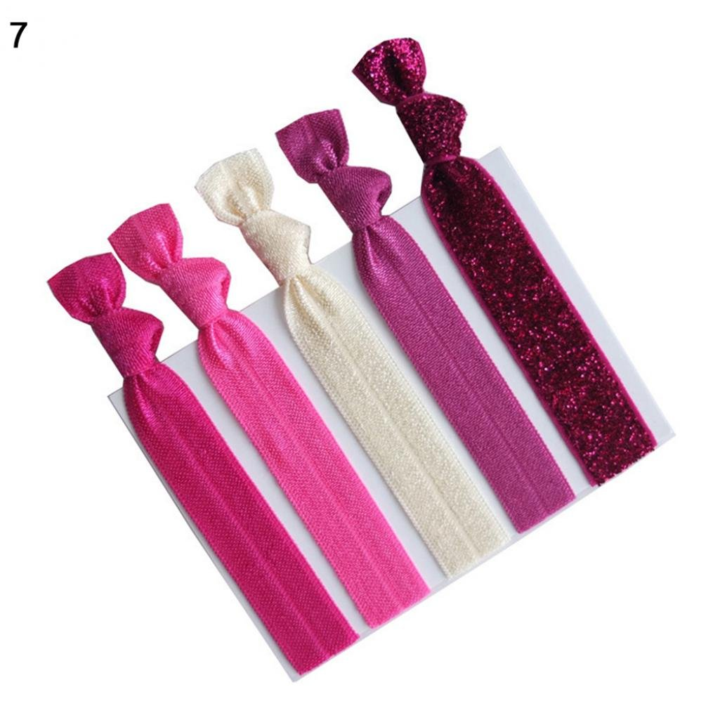 Sukisuki 5Pcs Colorful Womens Headwear Knot Hair Tie Rope Elastic Ponytail Holder