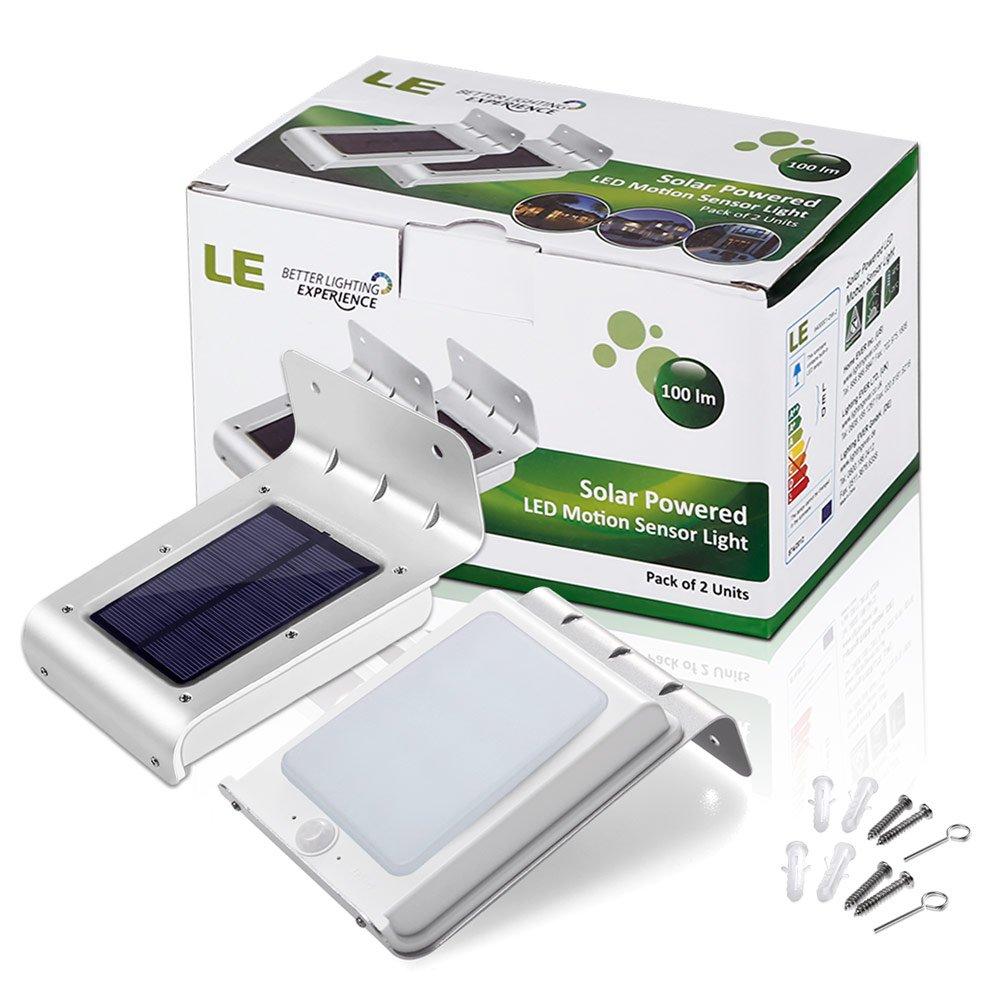 [2ª generación] LE Lámpara Solar LED con sensor, resistente al agua, patio, entrada, terraza, Pack de 4: Amazon.es: Iluminación