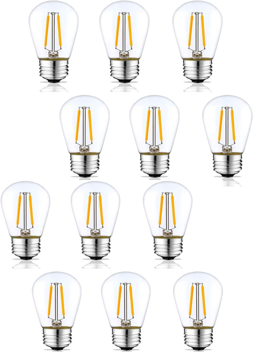 S14 LED Outdoor Edison Light Bulbs for String Light Replacement,2W,E26 Medium Screw Base,Nondimmable, Replace 11w Incandescent Bulb, Waterproof, Glass Bulb (3000K-12pack)