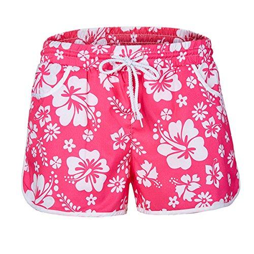 ZG&DD Women Sexy Hot Pants Summer Casual High Waist Beach Shorts (X-Large, Pink)