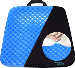Gel Chair Seat Cushion - Provide Relief for Lower Back,Coccyx,Sciatica,Tailbone or Hip Pain - Airflow Orthopedic Design Seat Pad for Wheelchair,Car,Office Chairs,Prevent Sweaty Bottom(Update)