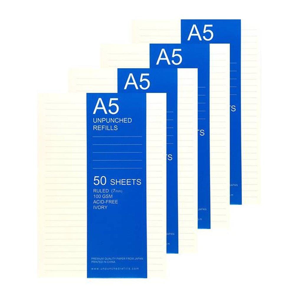 A5 Ruled Loose Leaf Filler Paper For Ring Binder Notebook Planner Inserts Filofax, Carpe Diem, Kikki K - Unpunched Refills, 50 Sheets x 4 Packs, 200 Sheets, 400 Pages, 100gsm, Ivory