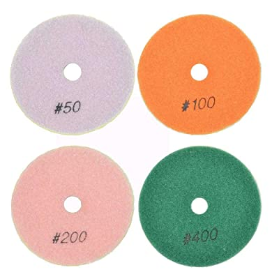 "Specialty Diamond BRTD412PC 4 Pc Concrete Polishing DHEX Pad Set 4"" (50, 100, 200 & 400 Grit) 6mm: Home Improvement"