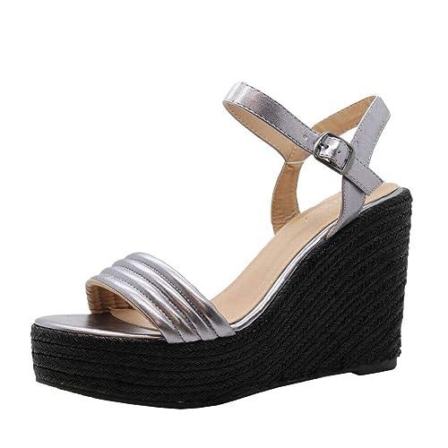 Señoras Mujeres Correa del Tobillo Alpargatas Plataforma tacón de cuña Alta Sandalias Zapatos tamaño 36-41: Amazon.es: Zapatos y complementos