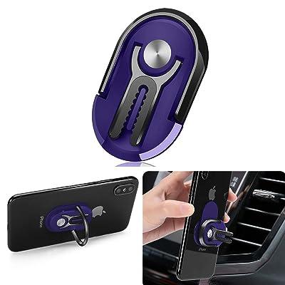 Phone Ring Holder Finger Kickstand, Multipurpose Phone Bracket, Universal Air Vent Car Phone Mount 3 in 1 Mobile Phone Stand 360 Degree Rotation(Blue Multicolor) (Blue & Black)
