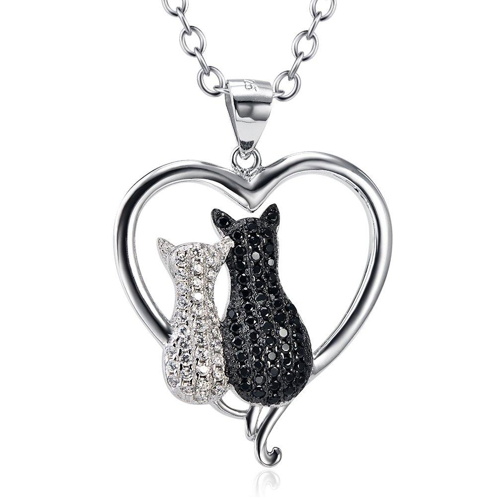 Collier en argent sterling avec une chaine de 45, 7cm et un pendentif en forme de chat en zircones cubiques - Chaîne de 45, 7cm Cadeaux pour Maman Silver Mountain SM-04