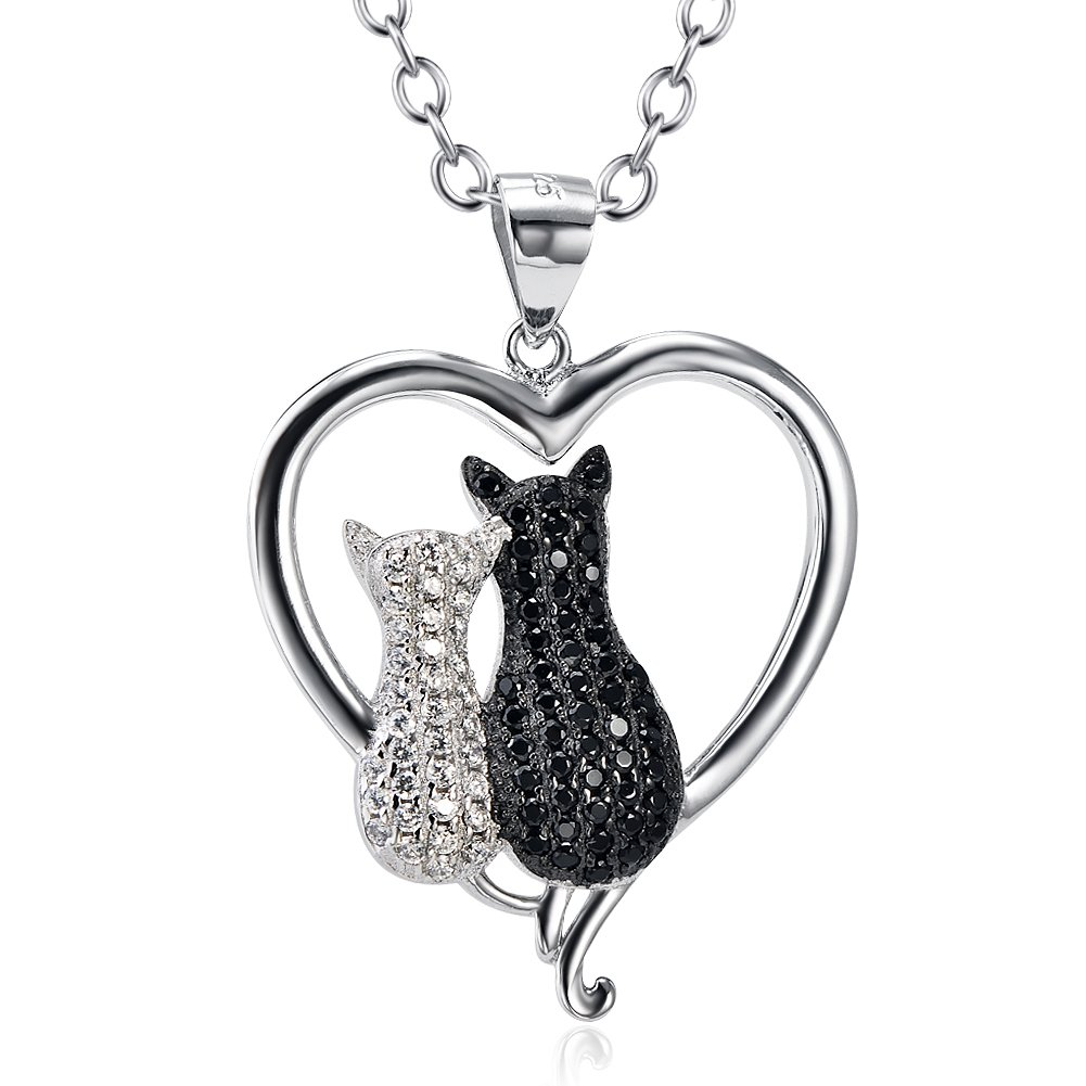 Sterling Silver Cubic Zirconia Pet Puppy Cat Pendant Necklace, 18