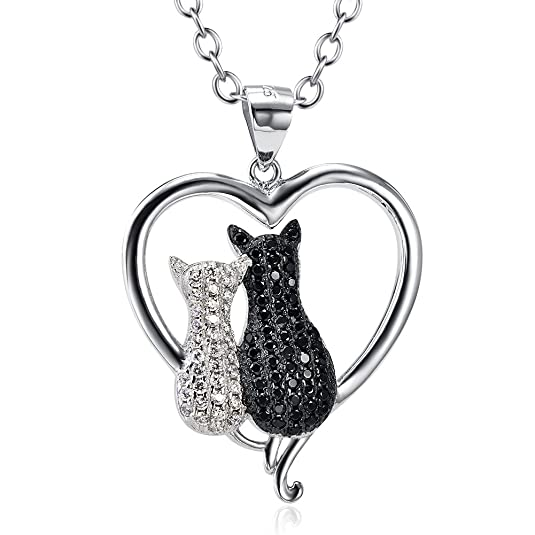 Silver Mountain 925 Sterling Silver CZ Moon Cat Pendant Necklace DjAUTvfI