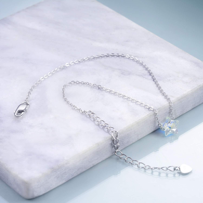 Bracelet de cheville pour femme en argent sterling avec cristaux Swarovski