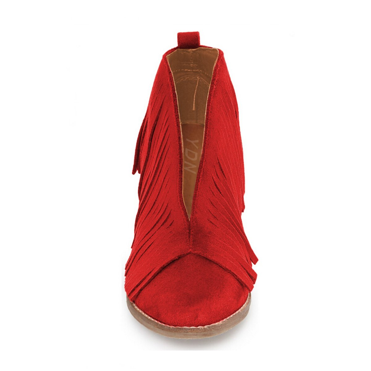 YDN Western Ankle High Boots with Tassels Round Toe Block Heel Suede Retro Booties B01KC2986C 6 B(M) US Red