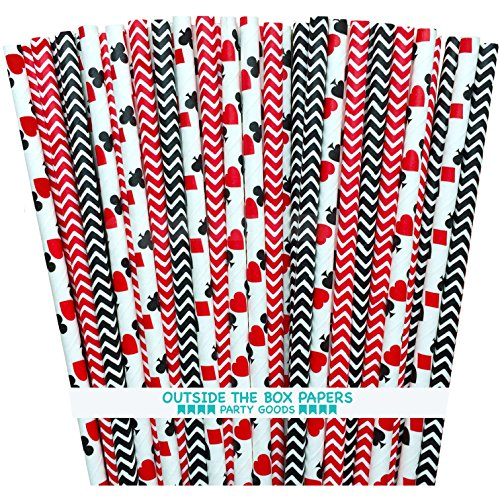 Casino Night Theme Chevron and Card Design Paper Straws - Red Black White - 7.75 Inches - Pack of 100 - Outside the Box Papers -