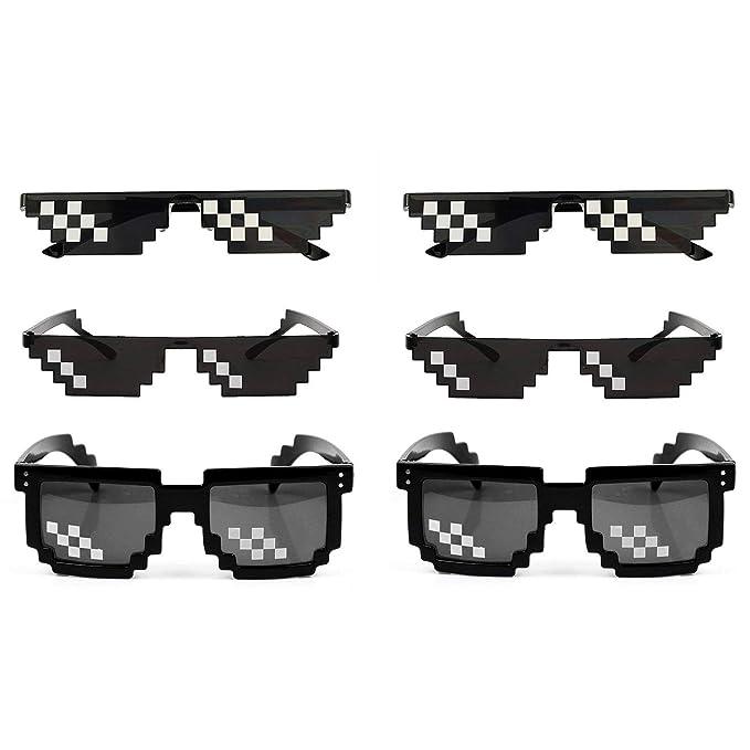 2c9babe4e0 SHI WU Gafas de sol Thug Life (Paquete de 6), gafas de mosaico Glass 8 Bit  ...