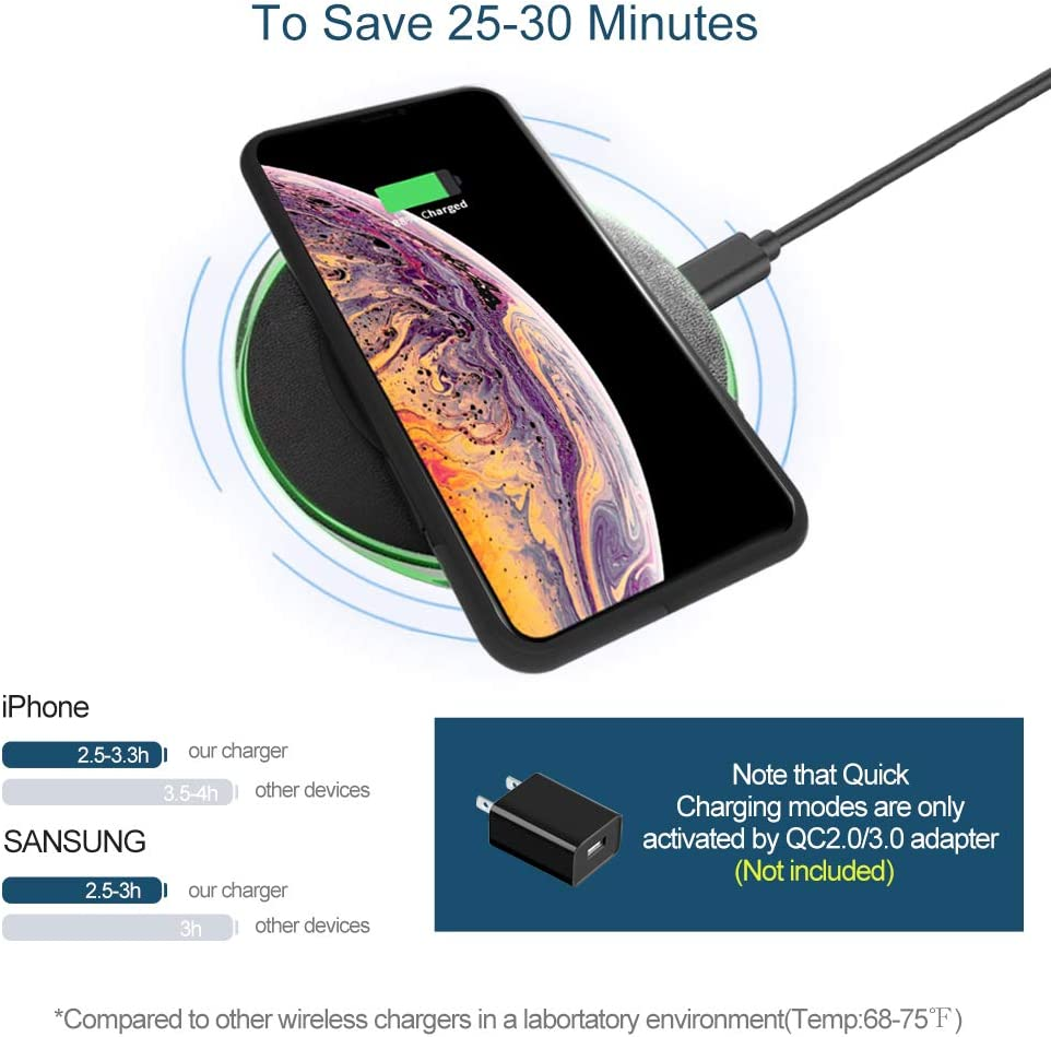 BunnyKachu Wireless Charger 7.5W Wireless Charging Pad Compatible with iPhone X//XR//XS//Xs MAX//8Plus//8,10W Fast Charging for Galaxy S9//S9+//S10//S10 Plus//S10E,5W for All QI Standard Phone No AC Adapter