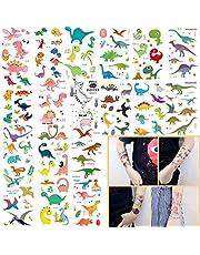 Oumezon Dinosaurus, 18 vellen, voor kinderen, meisjes, jongens, tatoeages, stickers voor kinderverjaardag, gastgeschenken