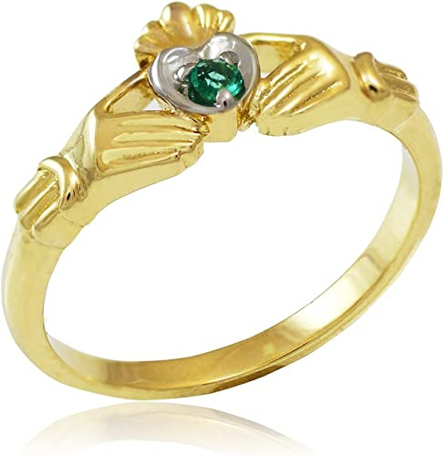 Ladies 10K Yellow Gold Solid Claddagh Ring size 4-10