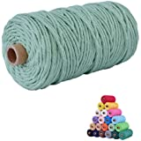 flipped 100% Natural Macrame Cotton Cord,3mm x109 Yard Twine String Cord Colored Cotton Rope Craft Cord for DIY Crafts Knitti