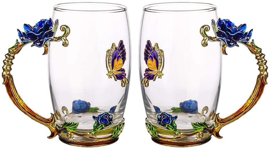 Lead Free Handmade Enamel Rose And Butter Coawg Flower Glass Tea Mug With Spoon