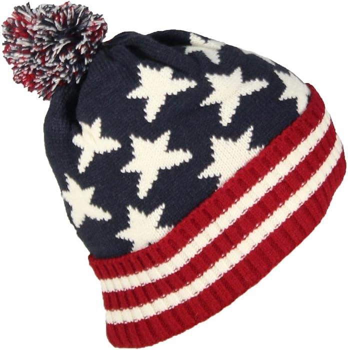 ce0f68fd27b Best Winter Hats American Americana Flag Cuffed Beanie Cap W Pom Pom (One  Size) at Amazon Men s Clothing store
