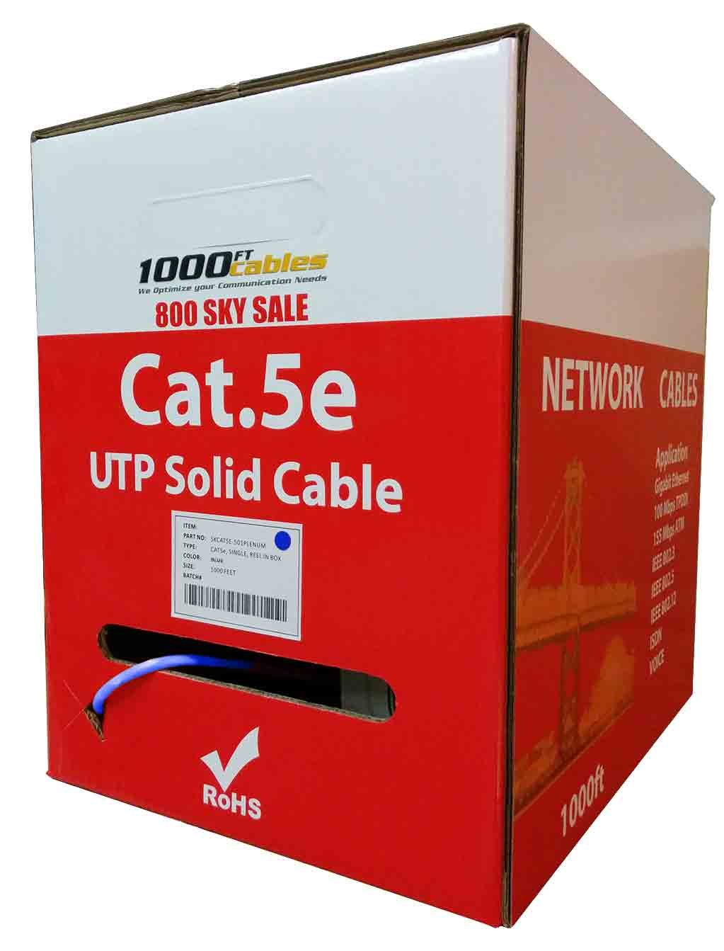 1000ft Bulk Cat5e 350mhz UTP Pure Copper, Plenum (Cmp) Ethernet Cable - Blue