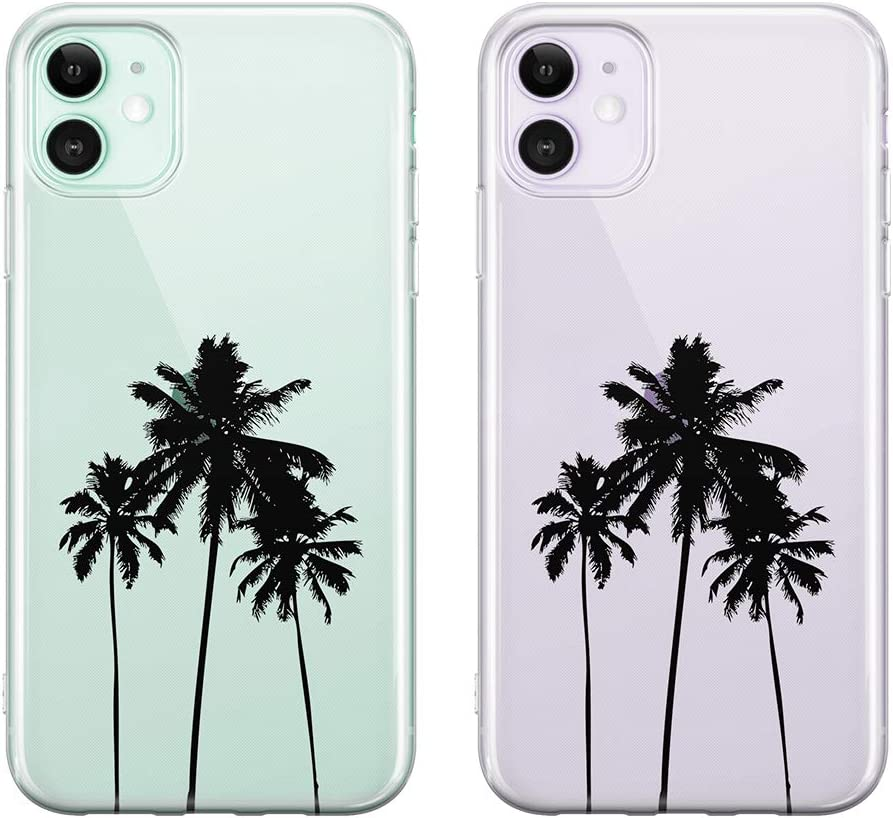 uCOLOR Palm Tree Clear Case for iPhone 11 (6.1 inch) Thin Slim Hybrid Case Hard PC with Soft TPU Bumper Anti-Scratch Protective Crystal Clear Case for iPhone 11 XIR 6.1 inch 2019