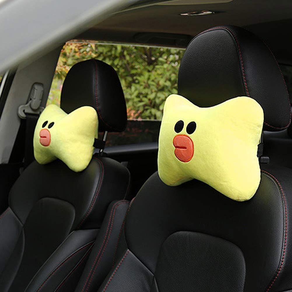 Tianmei 2PCS Cute Cartoon Pattern Car Headrest Pillow Car Neckrest Pad Head Support Pillow Brown Bear - 1 Pair Neck Rest Cushion Pillow