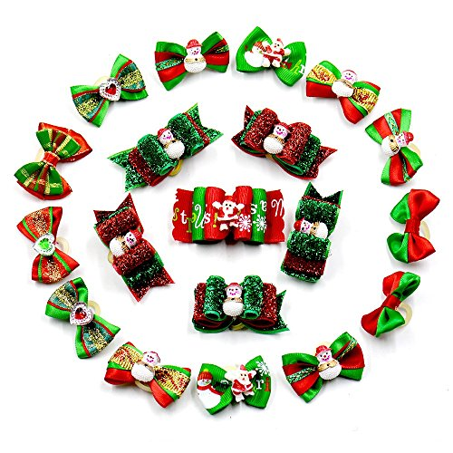 Tie Accessory Bow (Stock Show 20Pcs/Pack Pet Dogs Chirstmas Hair Bows with Rubber Bands Bow Ties Santa Claus Pattern X-mas Party Holiday Bowties Hairbands Hair Grooming Accessories, Assorted Color)
