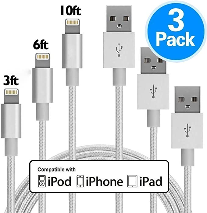iPhone cargador 3 Pack 3 pies/1,8 m/10 pies (1 M/2 M/3 M) nailon trenzado Cable cargador de 8 pines Cables de carga USB, compatible con iPhone X, 8, 8 Plus, 7, 7