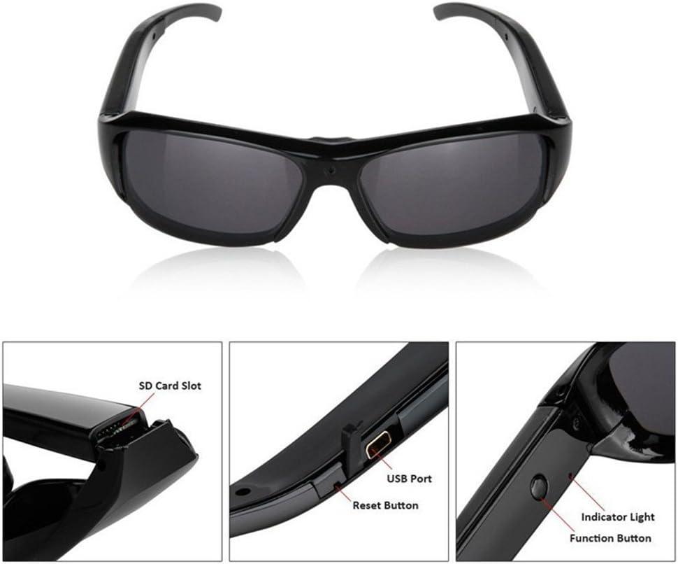 Al Aire Libre Moda HD Mini DV Oculto 1080P Video Grabador de Audio Gafas C/ámara DVR Disparo 500 Pixeles C/ámara esp/ía Gafas de Sol