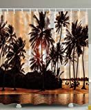 Tropical Beach Shower Curtain Decor Sea Love Beach Love Bora Bora Island Palm Trees Art Print for Nature Lovers Scenery View Decor Home Bathroom Set Decorative Sunset Shower Curtain Brown Orange