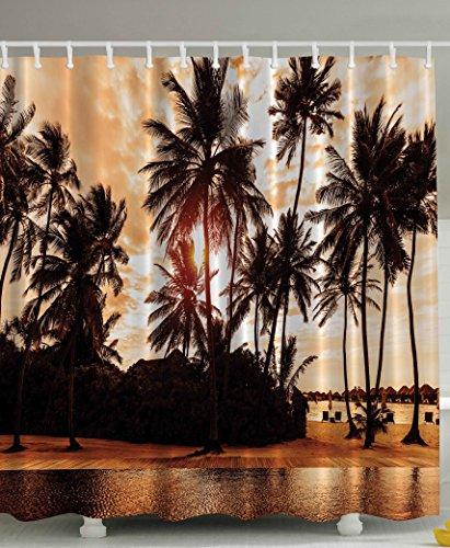 Tropical Beach Shower Curtain Decor Sea Love Beach Love Bora Bora Island Palm Trees Art Print for Nature Lovers Scenery View Decor Home Bathroom Set Decorative Sunset Shower Curtain Brown Orange (Palm Tree Bathroom Decor Ideas)