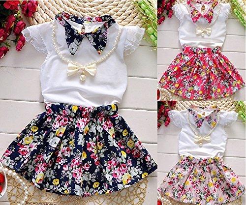 Filles 2-7ans Collier Princesse + Top + Jupe 3pcs Vêtements Été Mis En Vêtements Rose Rouge Pour Enfants