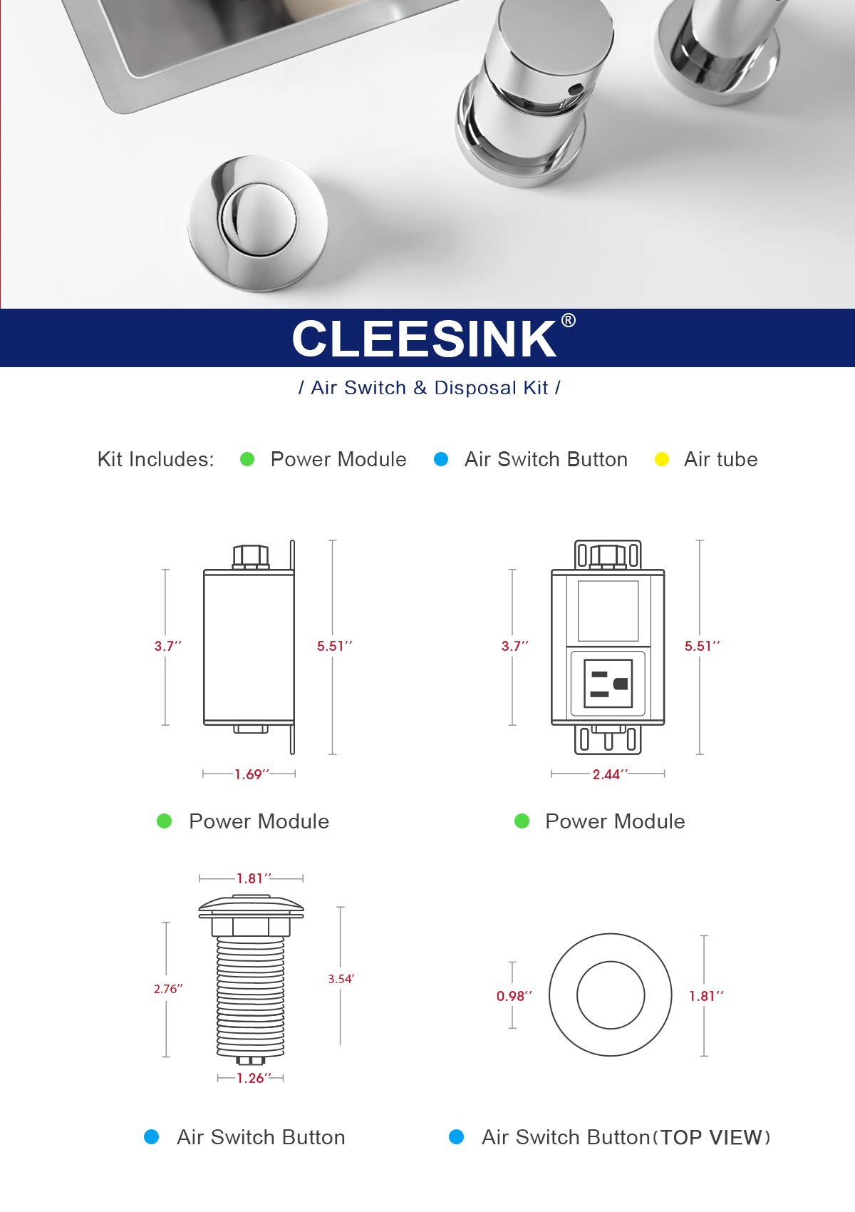 Sink Top Air Switch Kit, Garbage Disposal Part Built-Out Adapter Switch (LONG BLACK PLASTIC BUTTON) by CLEESINK by CLEESINK (Image #6)