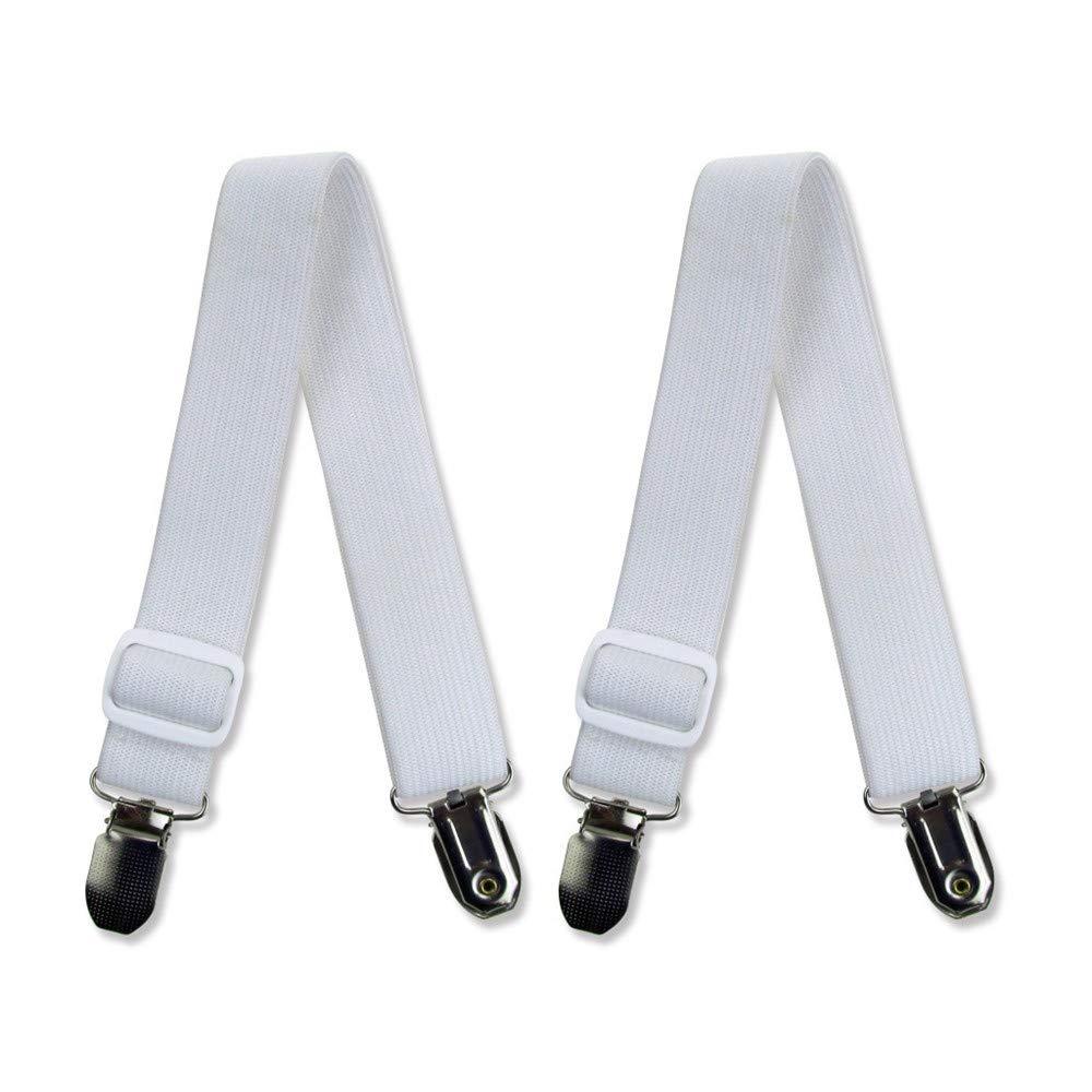 CapsA 2Pcs Bed Sheet Holder Straps Adjustable Bed Sheet Fastener Mattress Strong Clip Grippers Elastic Holder (White)