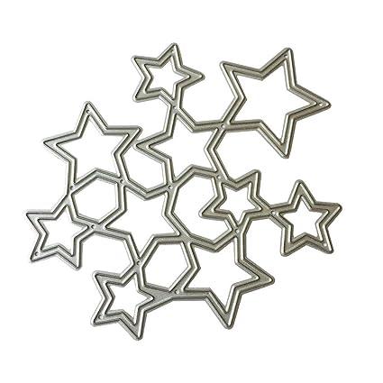 AFFEco Metal DIY estrellas troquelado plantilla scrapbook papel de repujado manualidades decoración metal molde