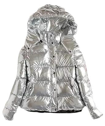 26b322da605 ARRIVE GUIDE Womens Winter Warm Metallic Hooded Button Parka Jackets  Outwear Silver S