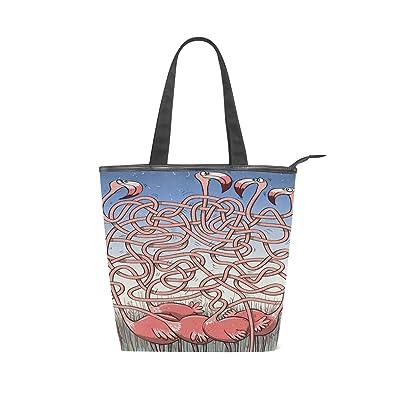 Amazon.com: Bolso de lona con patrón flamenco, bolsa de la ...