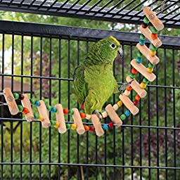 SunGrow Bird Ladder Bridge : Brightly Colored: Helps Birds with Balance: Durable & flexible: Made with Natural wood & edible dye : Easy Installation: Ideal Exercise & Fun accessory for All Birds